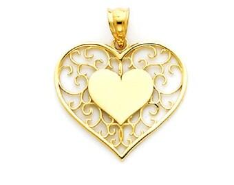 14K Yellow Gold Heart Pendant, Heart Pendant, Heart Jewelry, Heart, Love Pendant, Love Jewelry