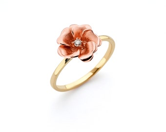 14K Two Tone Diamond Rose Ring, Diamond Rose Ring, Rose Jewelry, Diamond Jewelry, Fancy Jewelry, Floral Jewelry, Flower Jewelry