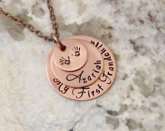 Mother's Day-My First Grandchild Personalized Hand Stamped Necklace - Gifts for Grandma, Grandmother