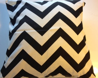Black and Ivory Chevron Pillow Cover 18 x 18 inches