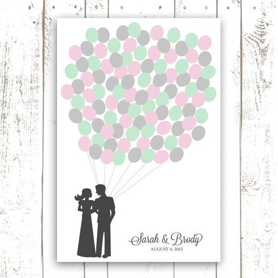 Wedding Guest Book Poster, Balloon Guest Book, Wedding Art Print, Mint and Pink