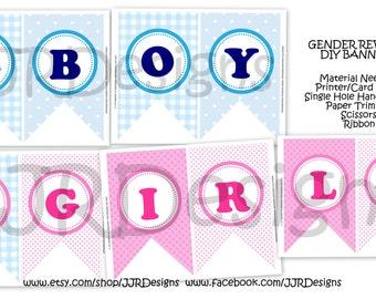 INSTANT DOWNLOAD-Gender Reveal Banner- Babyshower Banner- Gender Reveal- Boy or Girl Banner