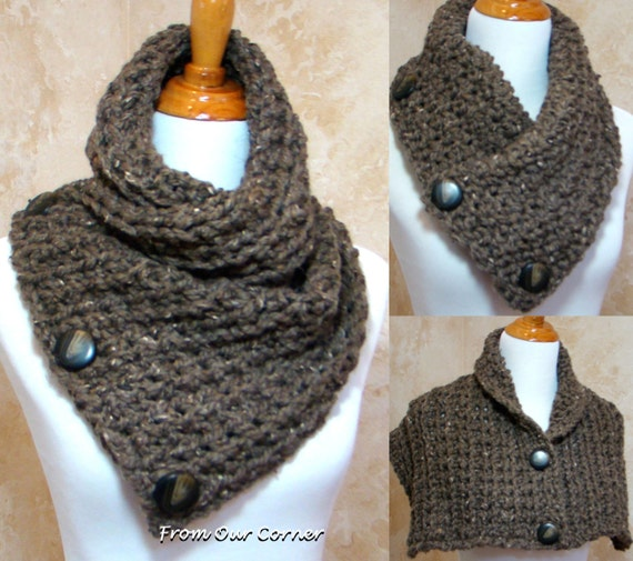 Crochet Scarf Pattern With Button : Items similar to 3 Button scarf, Taupe Tweed Crochet Scarf ...