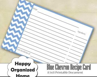 Blue Chevron Recipe Card, Printable Recipe Card, Printable Recipe Organizing, print your own recipe card, INSTANT DOWNLOAD