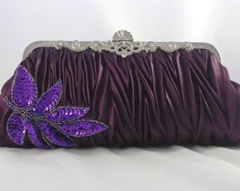 Maroon Evening Clutch, Purple Evening Clutch, Maroon Bridesmaid Handbag Purple Sequin Leaf Handbag Glitter Eggplant Clutch Formal Clutch Bag