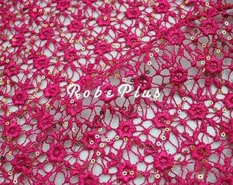 Fuschia Lace Fabric- Hot pink lace fabric- Fuchsia lace fabric- Floral pink lace- Floral Embroidered Lace-Floral Embroidered pink Lace-L74