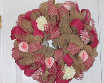 Beautiful Wreath - Shades of Pink and Burlap - Chevron, Burlap, Windowpane Ribbon -  Hydrangea - Roses