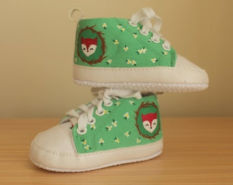 Woodland fox infant sized canvas sneakers - Handpainted baby shoes | Baby shower gift