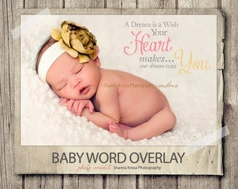 Word Overlay - Baby Newborn Phrase Photo Overlay - Text Photo Overlay - Dream Wish Baby Newborn Photo Words Phrase NSTANT DOWNLOAD