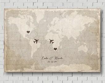 Unique Wedding Guest Book - Wedding Map - Destination Wedding - Love Map - Vintage World Map - Wedding Poster - Wedding Art Print - Gift