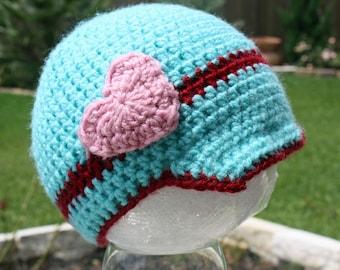 Girls Crochet Valentine Brimmed Beanie with Crochet Heart Embellishment