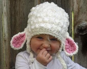 Little Girls Crochet Lamb Hat