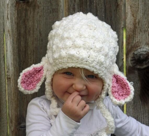 Crochet Pattern For A Lamb Hat : Little Girls Crochet Lamb Hat