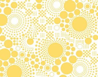 Riley Blake Pop C521 Yellow Circles on White--1/2 yard