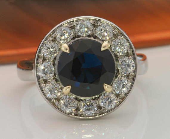 sold canadian halo blue sapphire engagement ring