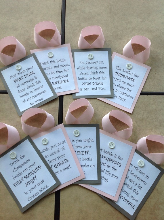 Wedding Gift Wine Tags : Bridal Shower Wine Tags / Grey and Light Pink / Wedding Gift / Gift ...