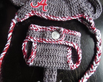 Crocheted Alabama Elephant Hat and Diaper Cover Set