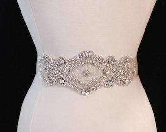 Bridal Sash - Wedding Dress Sash Belt - Rhinestone Ivory Wedding Sash - Ivory Rhinestone Bridal Sash