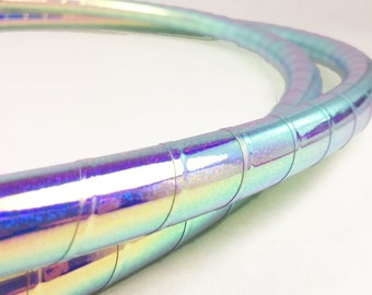 """Polypro Hula Hoop 3/4"""" , 11/16"""" or 5/8"""" // Color Shifting Indigo Galaxy Taped // Collapsable for Travel with Push Pin Lock"""