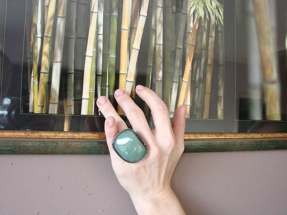 Emerald green AVENTURINE adjustable ring in tiffany technique stained glass romantic charms Ideal gift by GepArtJewellery.FREE SHIPPING!