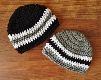Crocheted Baby Twin Boys Hat Set, Pewter Gray, Black & White Twin Hat Set, Baby Shower Gift, Sizes Newborn to 24 Months - MADE TO ORDER