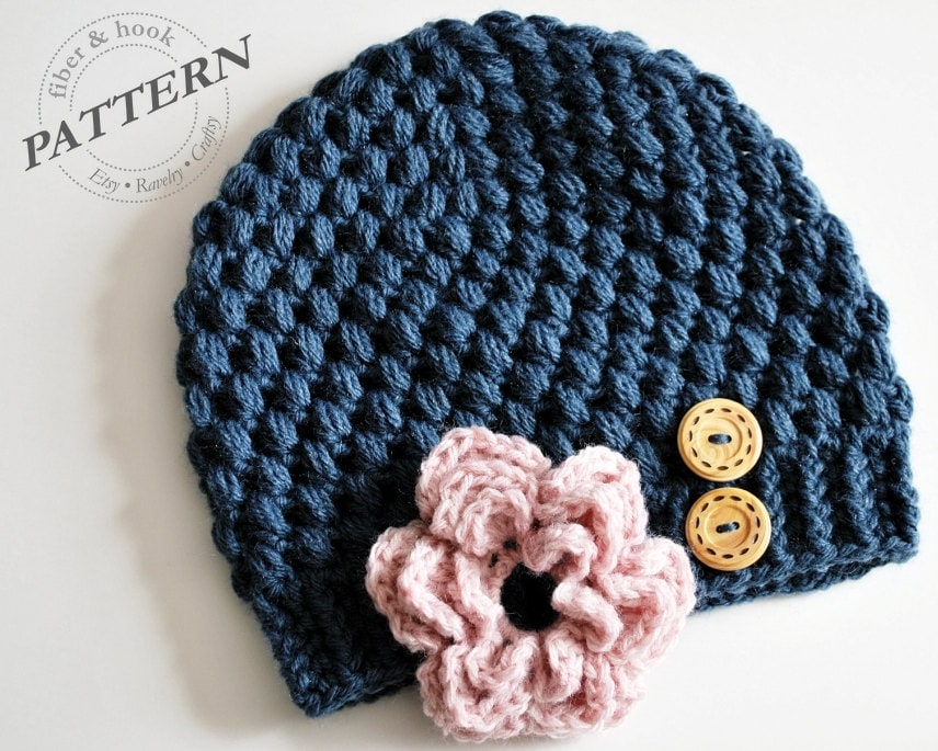 Crochet Beanie Pattern With Flower : CROCHET PATTERN Crochet Beanie with Detachable Flower