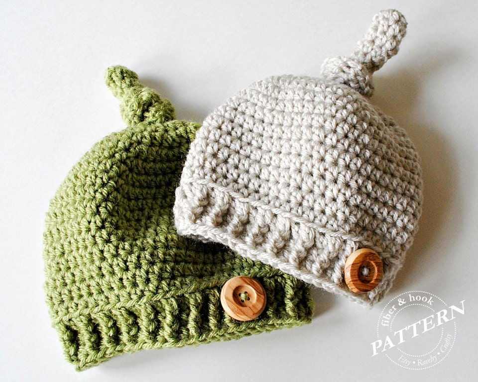 Crochet Pattern Top Hat : CROCHET PATTERN Top Knot Beanie Crochet Knot Hat Pattern