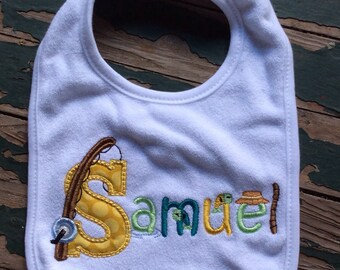 Fishing Bib - personalized with baby's name