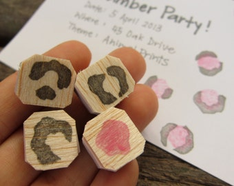 Leopard Print rubber stamps (set of 4)
