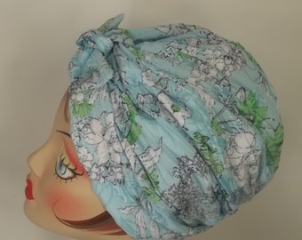 Crinkled silky, fashion turban, hat,  blue, floral, full turban, vintage style, designer, chemo, size Sm, Med, L, XL. Free shipping in USA.