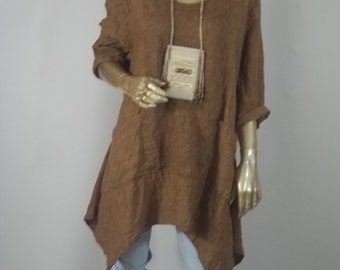 Linen tunic, lagenlook, brown, hankie hem, plus size, bohemian, layered look, top, shabby chic. XS - 3XL. Free shipping in USA.