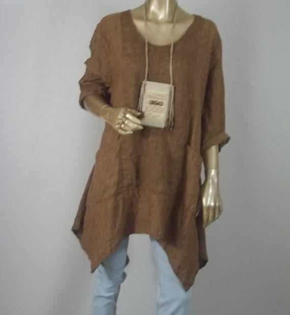 Linen tunic lagenlook brown hankie hem plus size