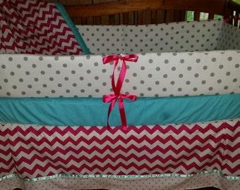 BLOWOUT SALE***Fuscia Pink Chevron/Gray dot and teal 4 piece crib set