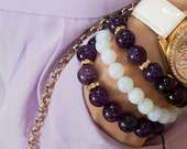 Shamballa Purple agate stone with gold plated spacer, party bracelet, gemstone beaded bracelet
