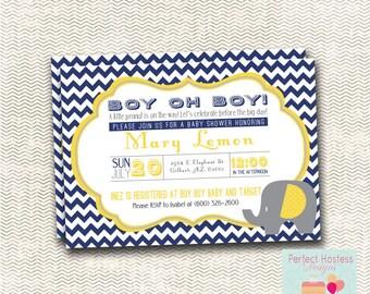 Boy oh boy! Elephant Baby Shower Invitation