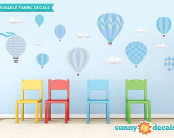 Hot Air Balloons Fabric Wall Decals with 9 Hot Air Balloons and 6 Clouds - Blue - Standard Sized - Available in 5 Color Options and 2 Sizes