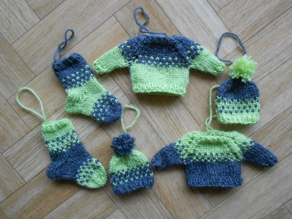 Knitting Household Items : Items similar to knit home decorations grey and green