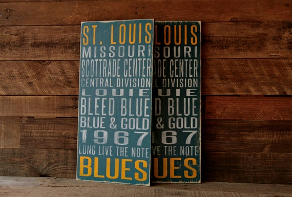 St. Louis Blues Distressed Wood Sign--Great Father's Day Gift!