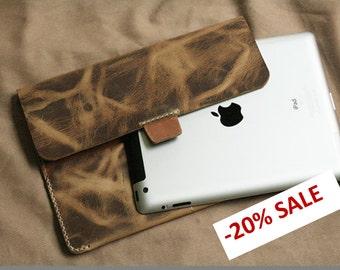 SALE Leather iPad case, iPad sleeve, iPad cover, Tablet sleeve case, iPad case leather, iPad 2 Case, iPad3 Case, iPad4 Case,Tablet Cover