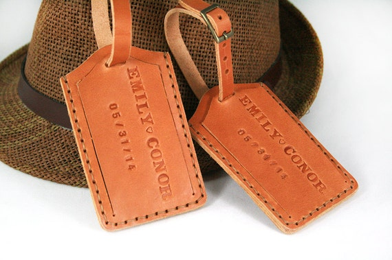 Luggage Tags: Leather Luggage Tag Monogram Luggage Tag Personalized Bag