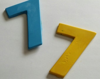 numbers - # 7 crayons -  Birthday theme  - Party favor .- set of 10 large # 7 crayons