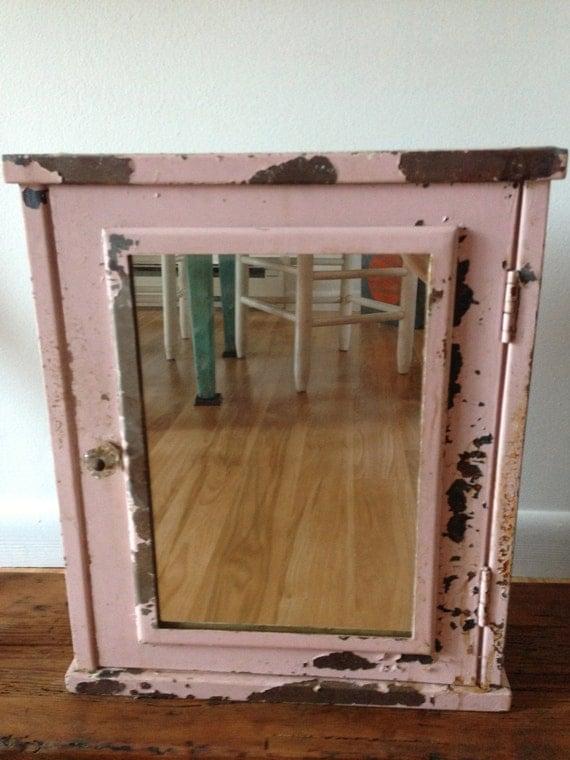 Vintage Pink Metal Medicine Cabinet by littlefrogvintagetwo