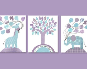 Aqua and Purple Nursery Decor, Nursery Wall Art, Zoo Nursery Decor, Giraffe Print, Elephant Wall Decor, Baby Girl Wall Hanging, Zoo Canvas