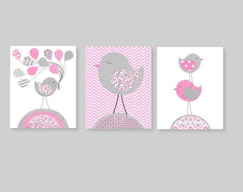 Bird Nursery Art Gray and Pink Nursery Decor Balloons Girl's Room Decor Girl Nursery Art Pink Balloons Baby Shower Gift 8 x 10 or 11 x 14