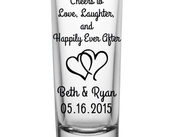 "144 Custom ""Happily Ever After"" Wedding 2oz Shot Glasses"