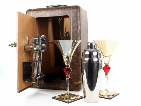 Vintage Mini Home Cocktail Bar For Two 6 Piece Barware Set