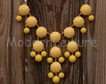 Yellow Bubble necklace statement necklace gift Bib necklace Chunky Necklace holiday necklace for girls Beaded necklace statement jewelry