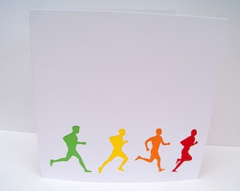 Running Card, Marathon Card, Card For a Runner - Paper Cut, Hand Cut card - Handmade Greeting Card - Blank Card