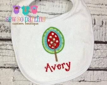 Baby girl fall bib - Tree baby bib - Personalized Girl Bib - Girly Baby Bib - monogrammed bib - baby gift
