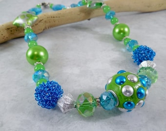 Lime Green and Bright Blue Large Bead Necklace/ Statement Necklace